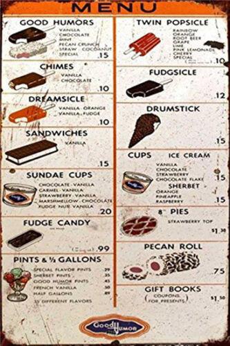 Metal Tin Sign ice cream menu  Decor Bar Pub Home Vintage Retro