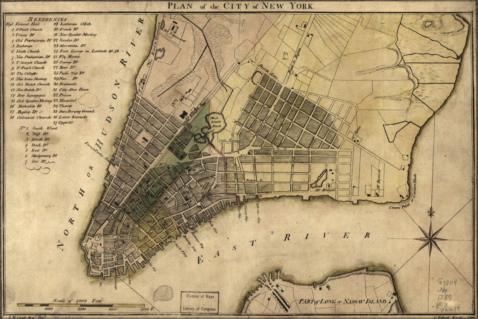 Poster, Many Größes; Map Of New York City 1789