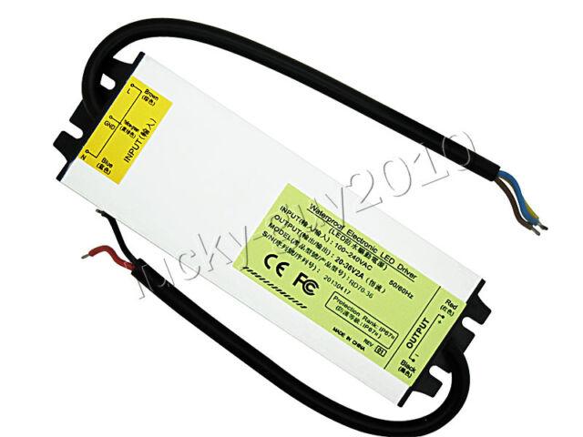 60W IP67 Waterproof LED Driver Power Supply DC20V-36V 2000mA for 60W LED Light