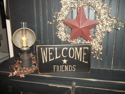 Wood Prim Sign Out Door Porch Sign WELCOME FRIENDS Country Rustic Decor Sign