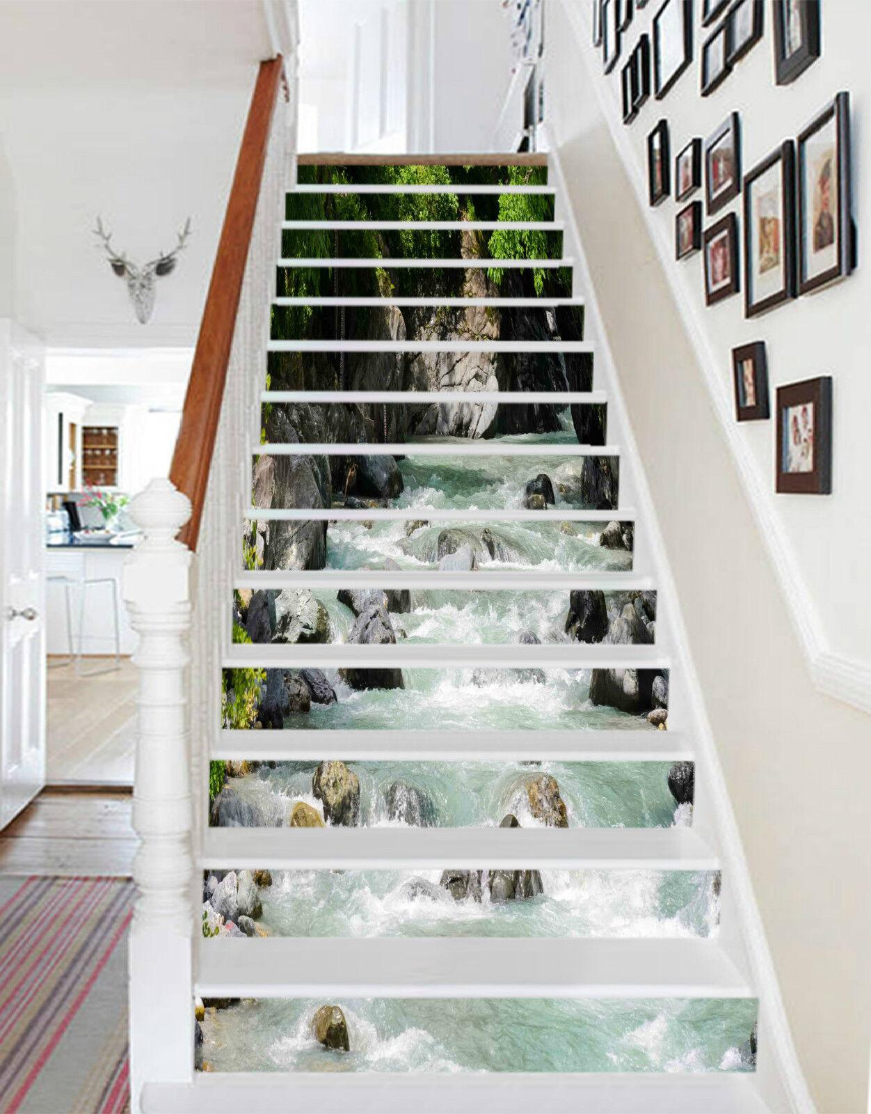 3D Tiefen Fluss 225 Stair Risers Dekoration Fototapete Vinyl Aufkleber Tapete DE