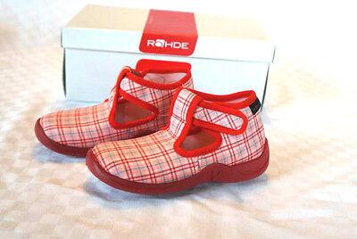 Rohde Hausschuhe Kinderhausschuhe Schuhe Mädchen rot/rosa/blau karo Gr. 24 neu