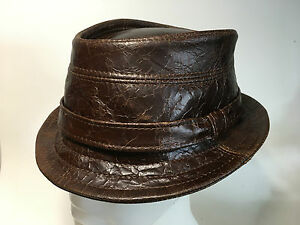 Crown Leather Lower Brown S Order l m Hat In Uk Trilby To xl Cracked Handmade fwwqngaZd