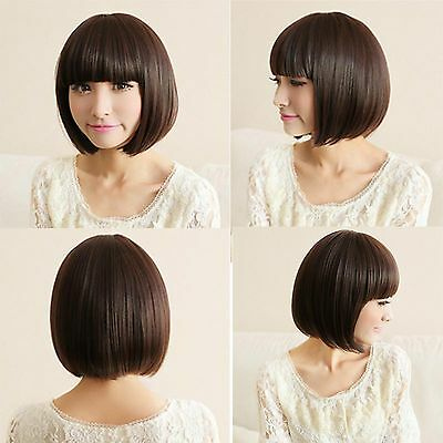 New Fashion Bob Style Short Wig Women Cosplay Full Straight Hair Wig Brown/Black