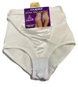 Lot of 2 VTG Cupid High Waisted Panty Tummy Extra Firm Control White Size Medium