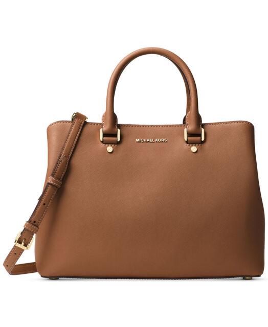Michael Kors Savannah Xl Extra Large Saffiano Satchel Bag Luggage Brown Gold