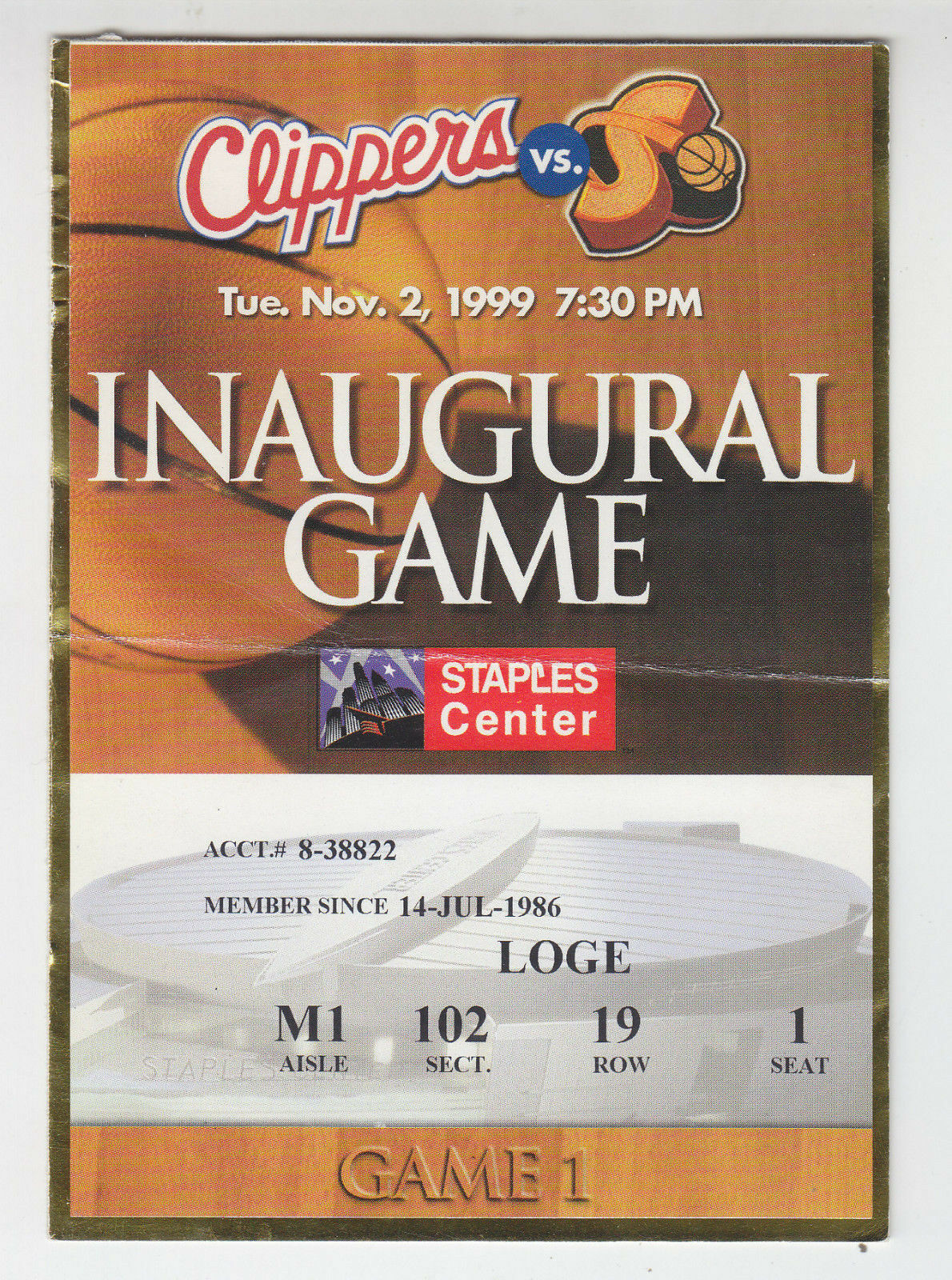 1999-00 los Angeles Clippers First Juego @ Grapas Centro Ticket Stub Supersonics