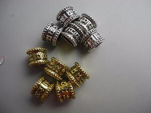 10 PC golden silver mixed color metal buddhism six words mantra dreadlock beads