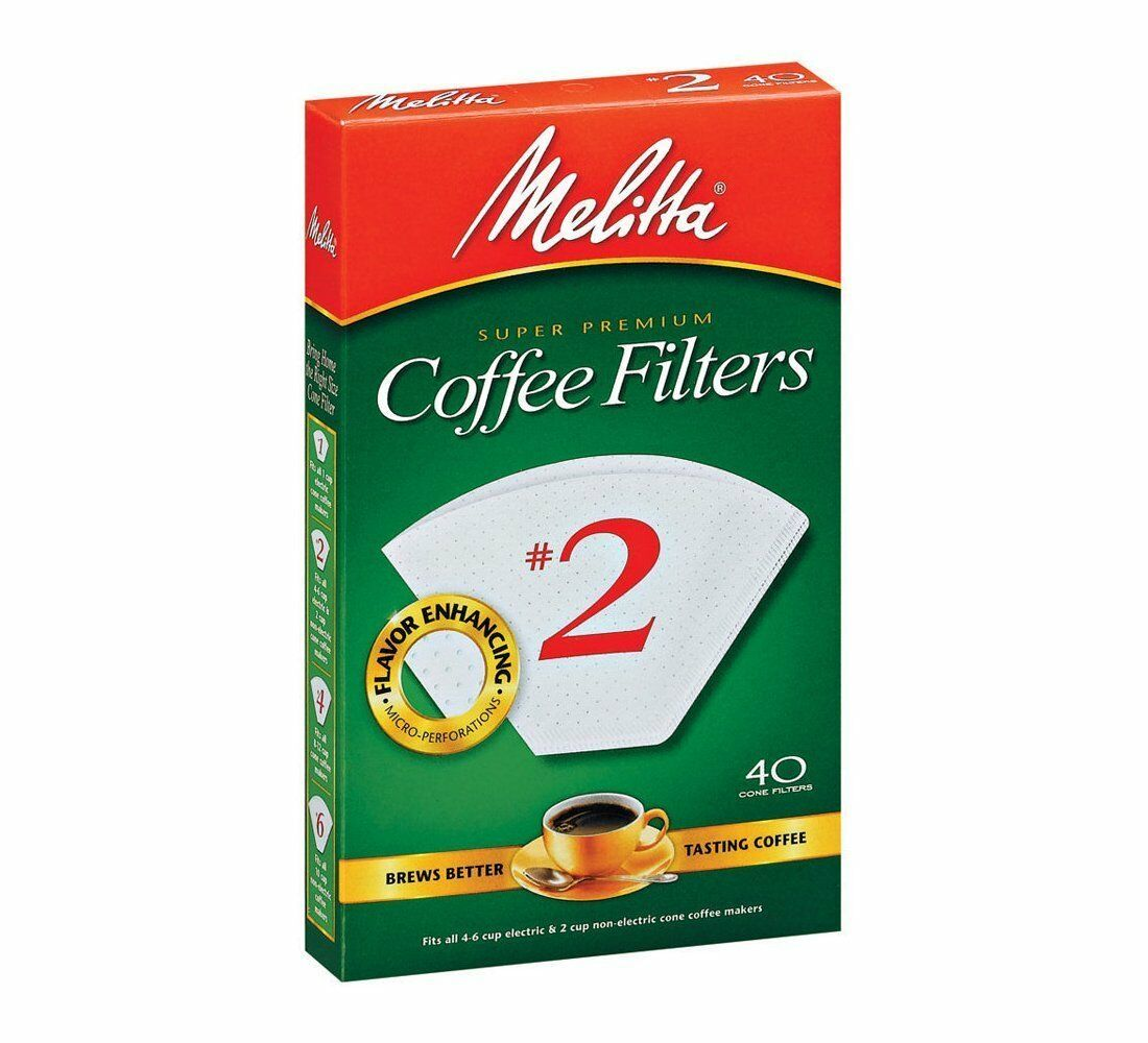 Melitta Super Premium  2 Cone Filter Paper blanc, 40 Count - Set of 24