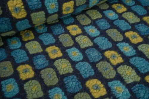 Wollwalk Musterwalk mit Baumwolle Rechtecke petrol senf grün auf dunkelblau 0,5m