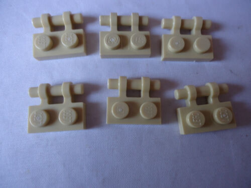 LEGO LIGHT TAN  PLATES 1 x 2 WITH HANDLE ON SIDE PART 2540  x 6