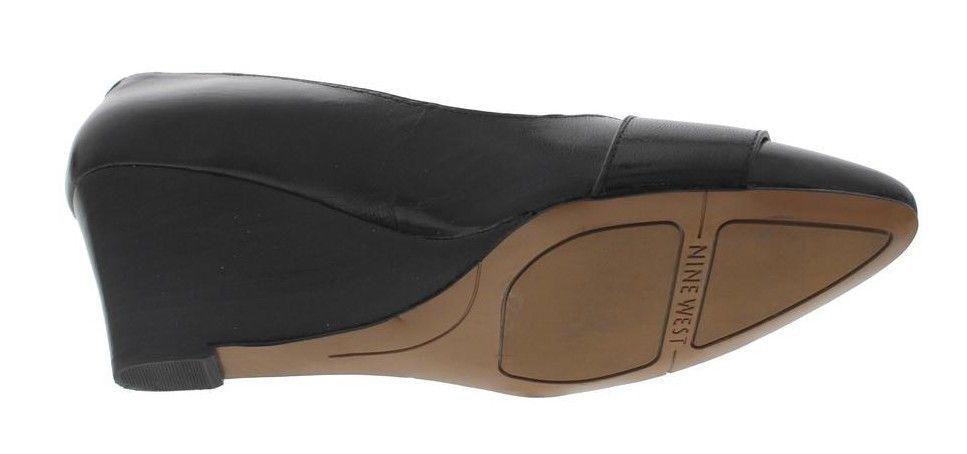 New NINE WEST WEST WEST Women Leather Slip On Dress Pump Wedge Heel Comfort shoes Sz 9.5 M 33a9c0