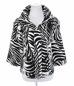 Just-B-Berek-Studded-Stretch-Zebra-Print-Utility-Full-Zip-Up-Jacket-Womens-Sz-M