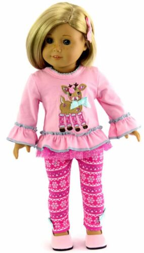 """Pink Reindeer /& Snowflake Legging Outfit Set fits 18/"""" American Girl Doll Clothes"""