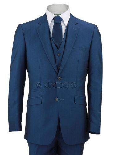 Mens Royal Blue 3 Piece Suit Work Wedding Prom Blazer Short Long Regular