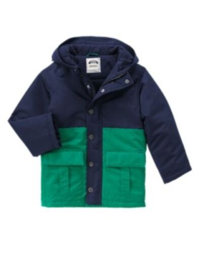 GYMBOREE GRIZZLY RIDGE NAVY /& GREEN COLORBLOCK HOODED JACKET 5 6 7 8 10 12 NWT