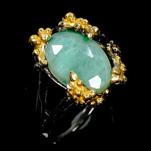 Shopping-sale-Natural-Emerald-925-Sterling-Silver-Ring-Size-8-5-R110451