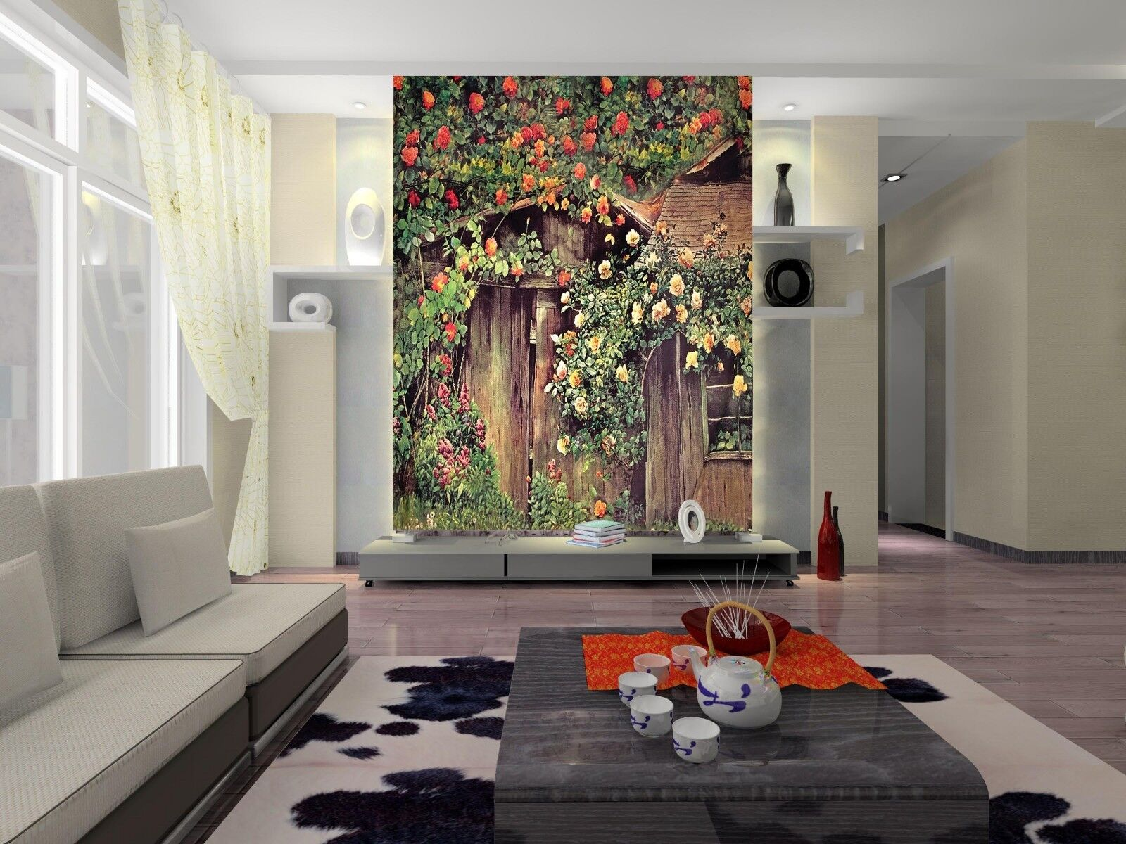 3D colord Flower House Paper Wall Print Wall Decal Wall Deco Indoor Murals