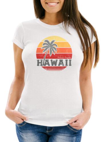 T-shirt Femmes Hawaii Palme Tropical Summer Retro Slim Fit Coton Neverless ®