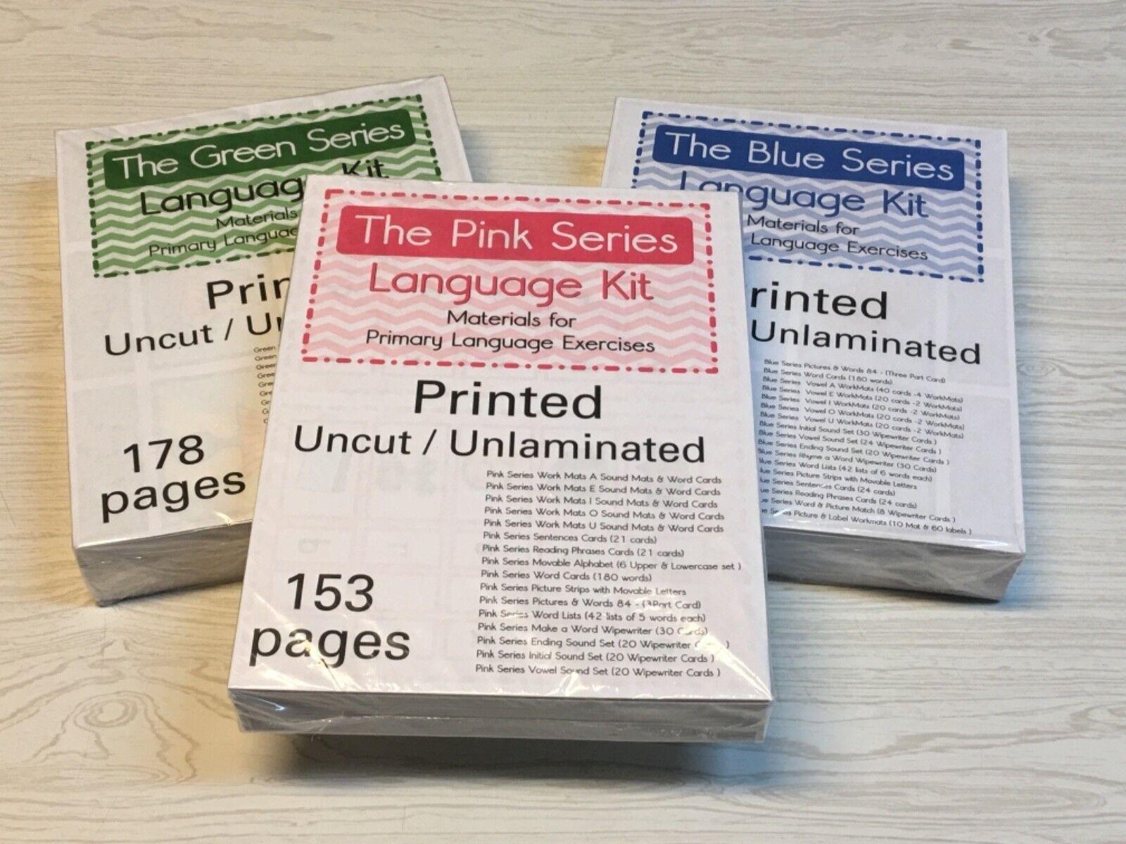 La Rose, Bleu & Vert-Série 3 Language Kits-Montessori  OPEN-Box objet