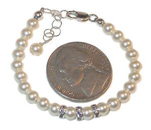 4mm-CREAM-Pearl-Bracelet-NEWBORN-BABY-Sterling-Silver-Swarovski-Elements