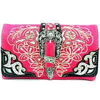 Western Cowgirl Rhinestone Buckle Hot Pink Cross Body Wristlet Wallet Strap