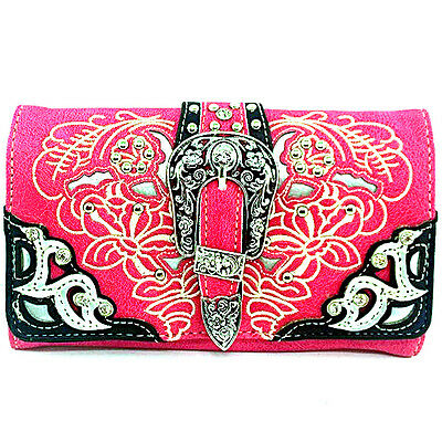 Western Cowgirl Rhinestone Buckle Hot Pink Cross Body Wristlet Wallet Strap
