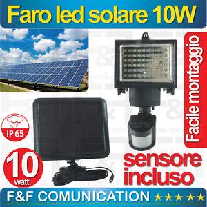 Dettagli Su Faretto Led Pannello Solare 10w Con Sensore Crepuscolare E Di Movimento New