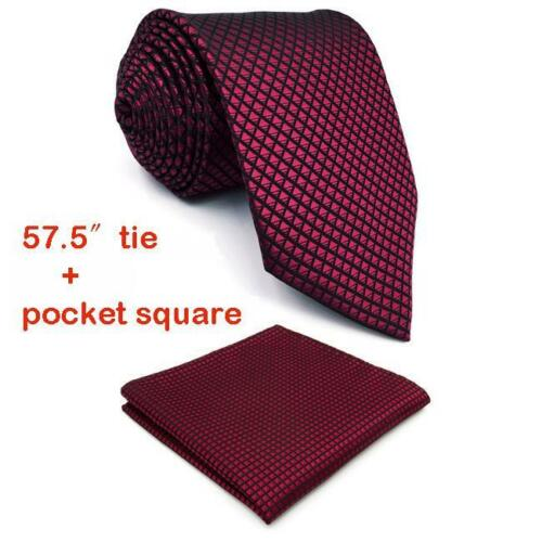 Solid Checked Neck Tie And Handkerchief Burgundy Formal Suit Accessories For Men