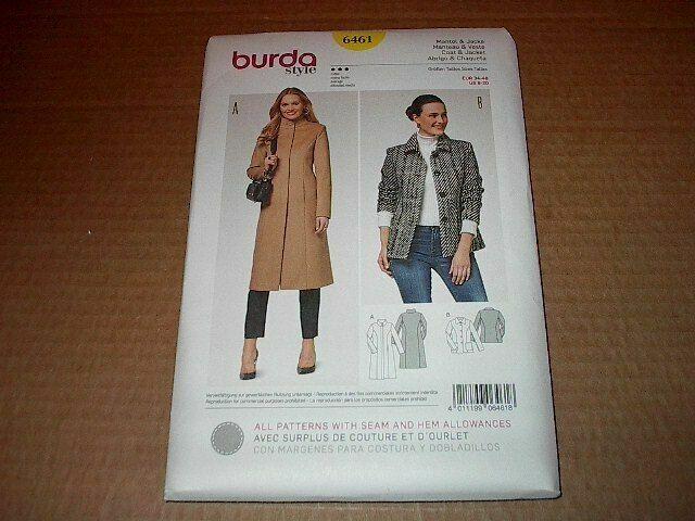 Burda Ladies Sewing Pattern 6461 Coat /& Jacket Burda-6461