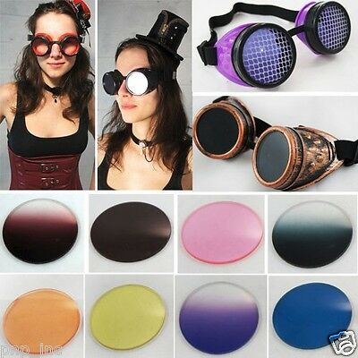 Steampunk Cyber Goggles w/ Colored Lens Biker Gothic Rave Vintage Cosplay Sets