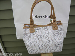 New-With-tags-Calvin-Klein-Monogram-Hudson-Shopper-Tote-Bag-100-Authentic