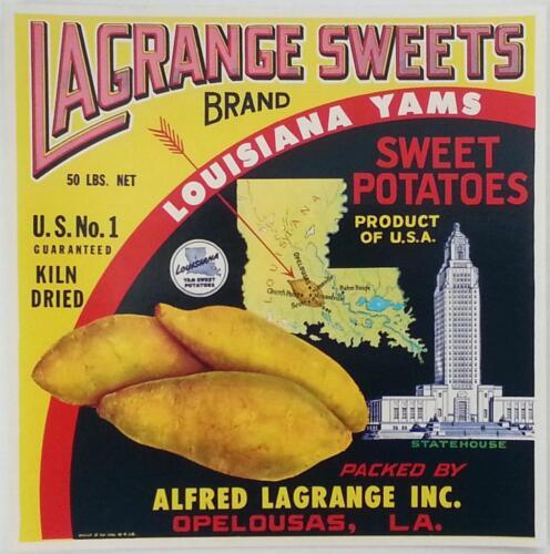 Lagrange Sweets Louisiana Yams Sweet Potatoes Vintage Crate Label Opelousas La