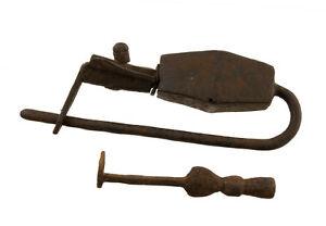 Lucchetto Tibetano Nepal Da Monastero Buddista Antico Metallo Authentique-9769