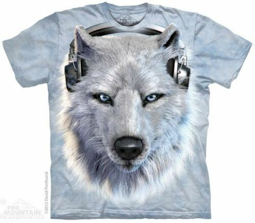 THE MOUNTAIN WHITE WOLF DJ DOG PARTY ANIMAL HEADPHONES SHINE T TEE SHIRT S-5XL