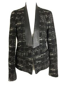 Zara-Tweed-Tailored-Blazer-Jacket-Black-Monochrome-Smart-Work-Office-Small-8-10