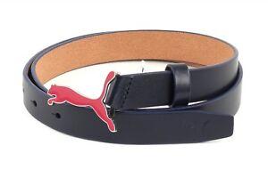 PUMA-Skinny-Pop-Fitted-Belt-M-W85-Guertel-Lederguertel-Damen-Herren-Navy-Blau-Neu