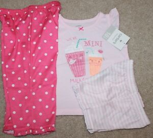 4a8dda02156b New! Baby Girls Carter s 3 pc Pajama Set (PJ  Sleepwear  Pink ...