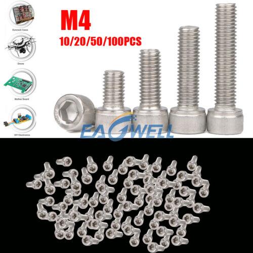 10//20//50//100pcs M4 Stainless Steel Allen Hex Bolt Socket Cap Screws Head DIN912