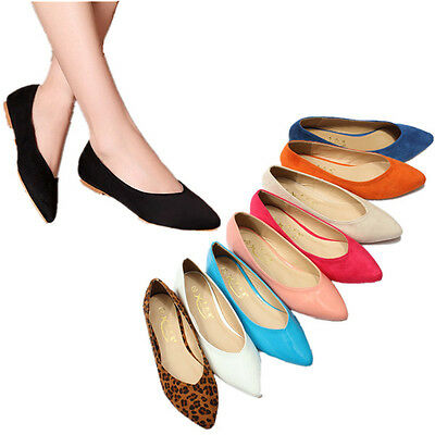 Casual Womens Ladies Pointed Toe Flats Slip on Ballet Shoes Loafers Pumps Suede