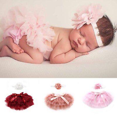 Newborn Baby Girl Tutu Skirt Floral Headband Costume Photography Prop Outfit