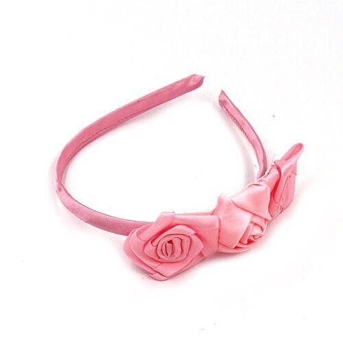 Fleur Rose Satin Alice Bandeau Serre-tête Fille Perle Motif Mariages Cheveux Demoiselle D/'honneur