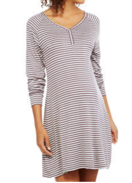 a8b6833c9ba00 Nuture by Lamaze Maternity Long Sleeve Nursing Striped Night Shirt Gown,  Large