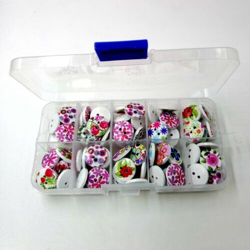 100pcs 2-hole Wooden Flower Printed Buttons in Box for DIY Sewing Decoration