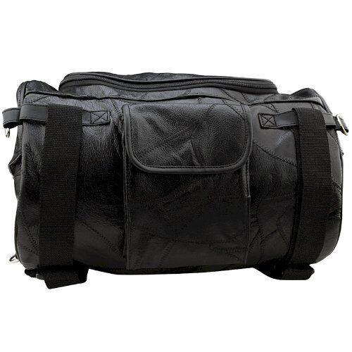 Medium Black Leather Motorcycle Barrel Bag