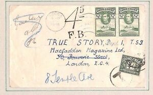 DBAP161 1946 GOLD COAST Accra Underpaid GB 4d Postage Due/ GB London