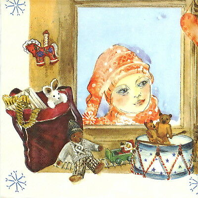 4x Paper Napkins for Decoupage Craft Christmas Magic Window