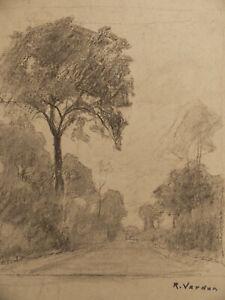 Raymond Jean Verdun Gd Dessin Ancien Paysage Symbolisme Tableau Peinture Signe Ebay
