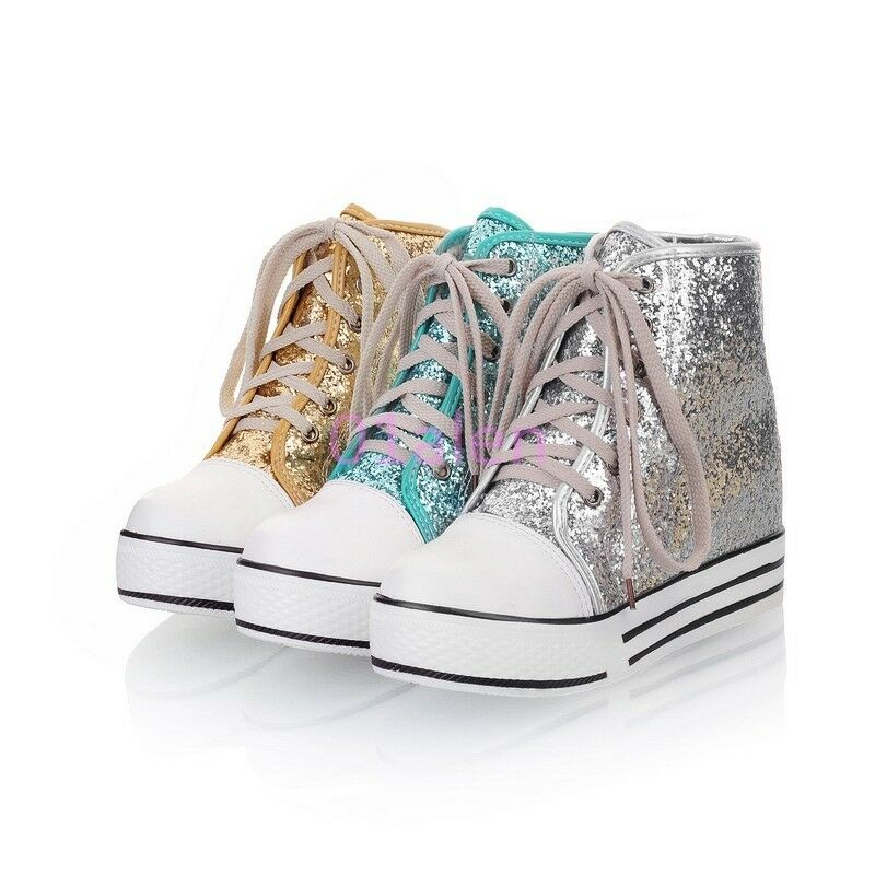 Hot Spring Sneakers Womens Girls High Top Sequins Lace Up Plimsoll Leisure shoes