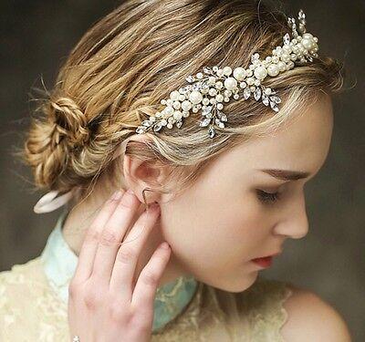 Handmade hair vine tiara bridal/wedding/clear gem crystal pearl bride bead